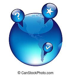 globe, éléments, navigation, gps