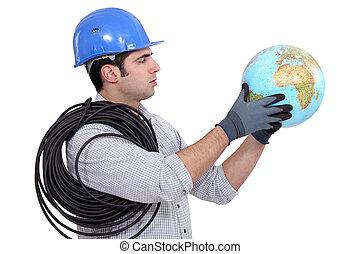 globe, électricien, tenue