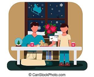 globe., クッキー, ココア, pasantia, イラスト, 挨拶, 父, ad., 書きなさい, card., 息子, s, ∥あるいは∥, ウェブサイト, 保温カバー, 内部, カップ, 平ら, claus., 手紙, 雪, クリスマス, 新しい, decorations., テーブル, 年, santa, app