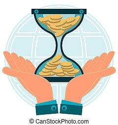 globe., 金, お金, コイン, お金。, 保護, 堆積, 背景, 手, bank., 砂時計, 時間, working.
