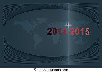 globe, 2014-2015, nouvelles années, passing., vecteur, année, mondiale