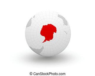 Globe. 3d. Antarctica.