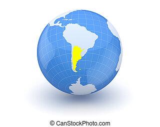 Globe. 3d. Argentina.