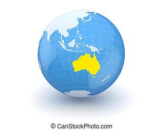 Globe. 3d. Australia.