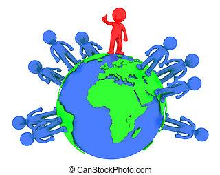 globe, 3d, autour de, gens