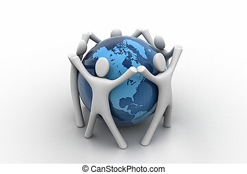 globe, 3d, autour de, render, gens