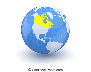 Globe. 3d. Canada.