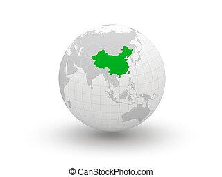 Globe. 3d. China.