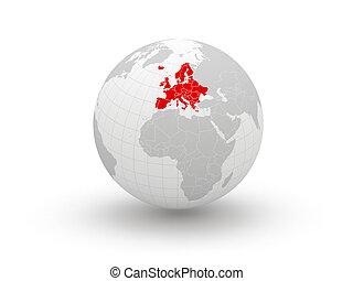 globe., 3d., europe.