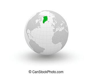 Globe. 3d. Greenland.