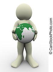 globe, 3d, homme