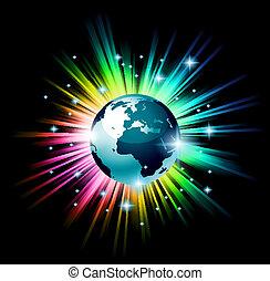globe, 3d, illustratie, met, een, regenboog, lichte explosie