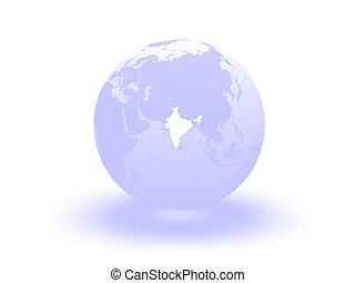 Globe. 3d. India.