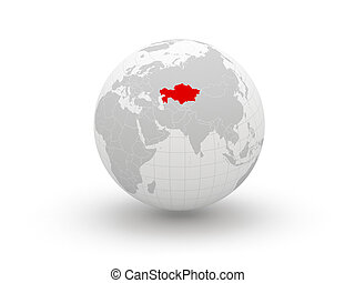 Globe. 3d. Kazakhstan. Elements of this image furnished by ...