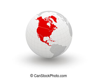 Globe. 3d. North America. Elements of this image furnished...
