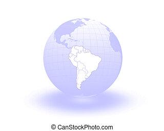 Globe. 3d. South America.