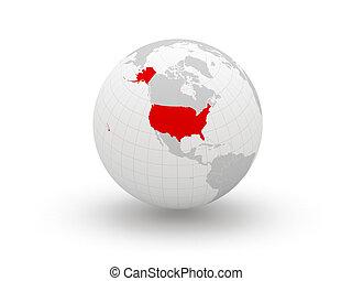 Globe. 3d. USA.