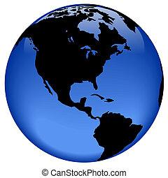globe, aanzicht, -, amerika