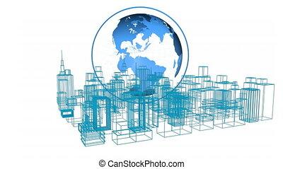 Globe above a digital 3D model of a city