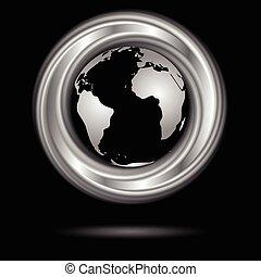 globe., abstrakcyjny, wektor, projektować, ring, srebro