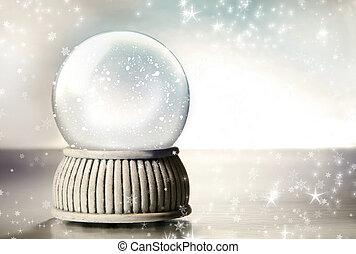 globe, achtergrond, sneeuw, tegen, zilver