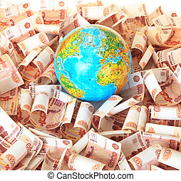 Globe against five thousandth Russian banknotes