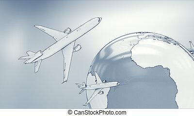 globe, airplanes.