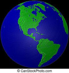 globe - America - plasticized green & blue globe - america
