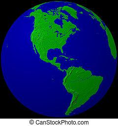 globe - America - green & blue globe - America