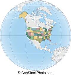 globe, amerika, noorden, usa