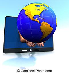 globe, amerika, tablet, blok