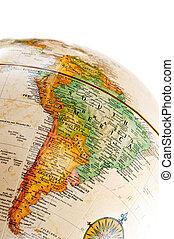 globe, amerika, -, zuiden