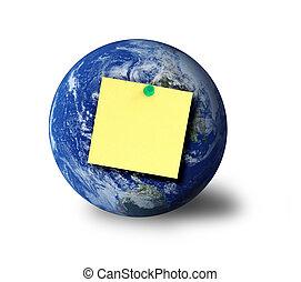 globe and adhesive note