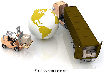 globe and autoloader with boxes