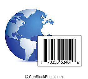 globe and barcode