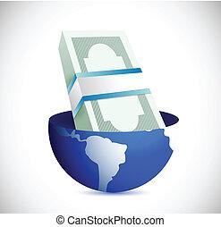 globe and bills illustration design