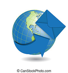 Globe and blue envelope