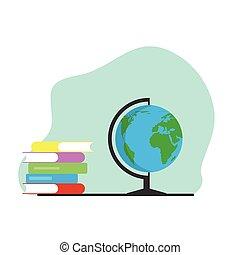 Globe and Books Flat Style