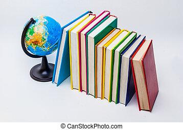 globe and books