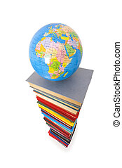 Globe and books isolated on the white