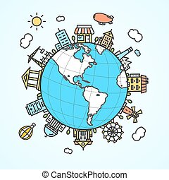 Globe and Building Around. Vector