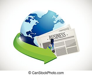 globe and business newspaper illustration