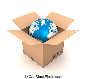 globe and cardboard box