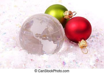 Christmas Around The World - Globe and Christmas Ornaments...