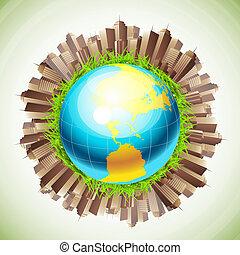 Globe and city