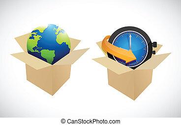 globe and clock boxes illustration design