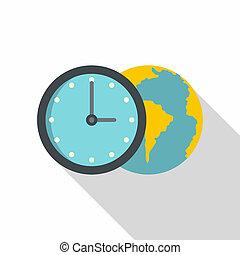 Globe and clock icon, flat style