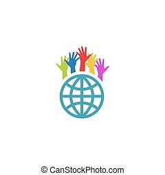 Globe and colorful hands up, mockup volunteer charity logo