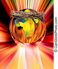 globe and crown of thorns - A colorful globe with a crown of...
