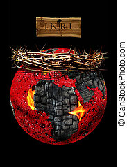 globe and crown of thorns - A crown of thorns with a globe...